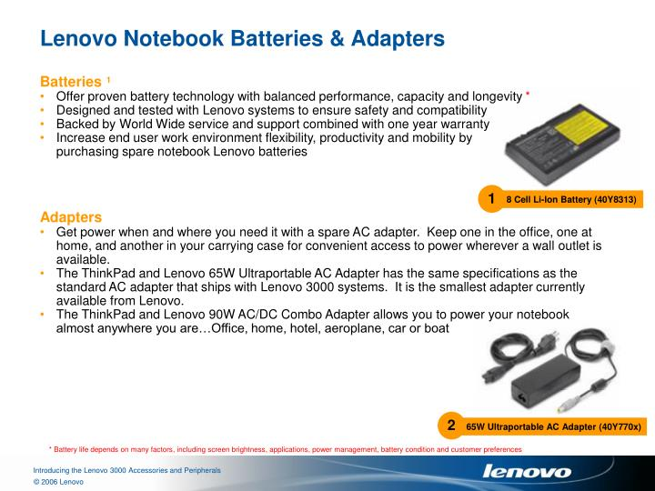 Lenovo notebook batteries adapters