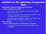 additions to the laboratory component 2002