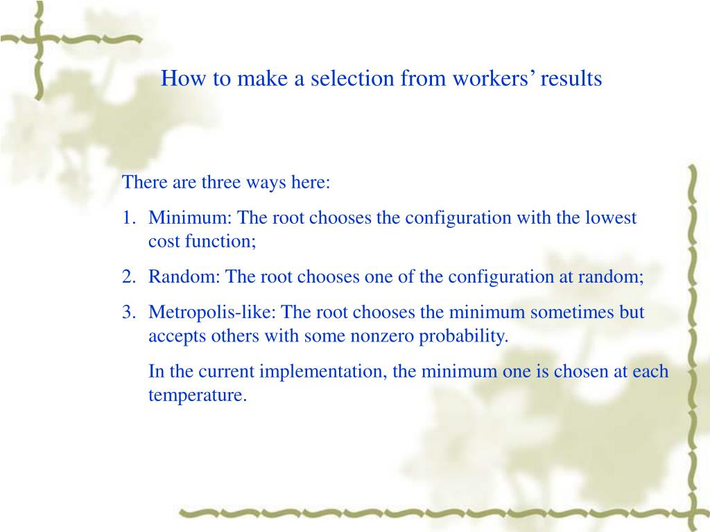 How to make a selection from workers' results