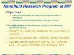 nanofluid research program at mit
