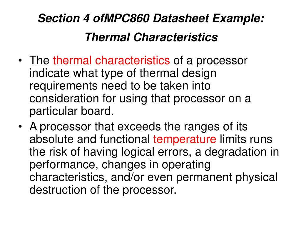 Section 4 ofMPC860 Datasheet Example: Thermal Characteristics