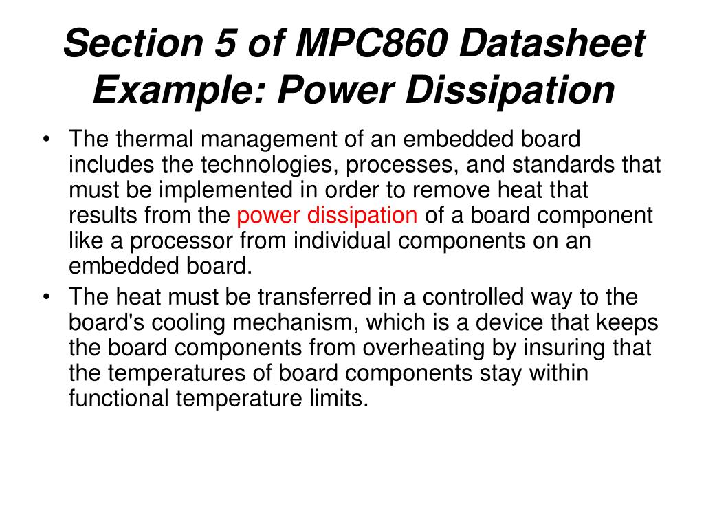 Section 5 of MPC860 Datasheet Example: Power Dissipation