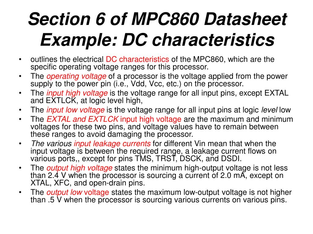 Section 6 of MPC860 Datasheet Example: DC characteristics