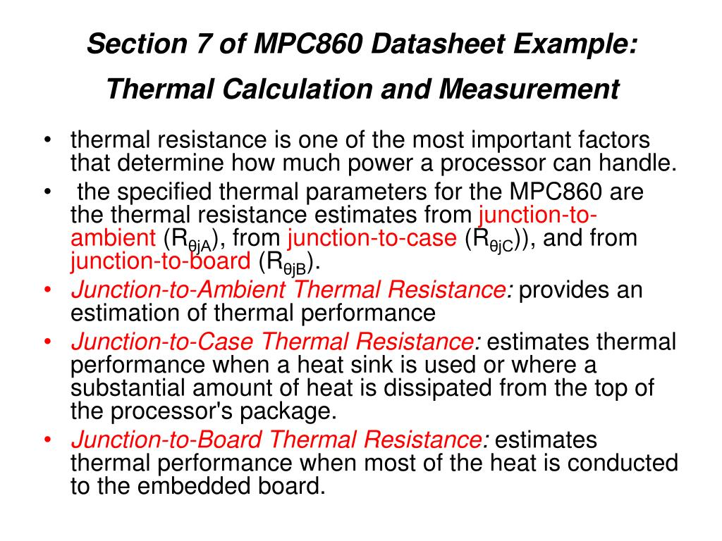 Section 7 of MPC860 Datasheet Example: Thermal Calculation and Measurement