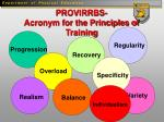 provirrbs acronym for the principles of training