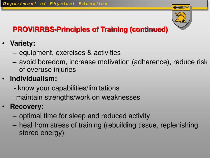 PROVIRRBS-Principles of Training (continued)