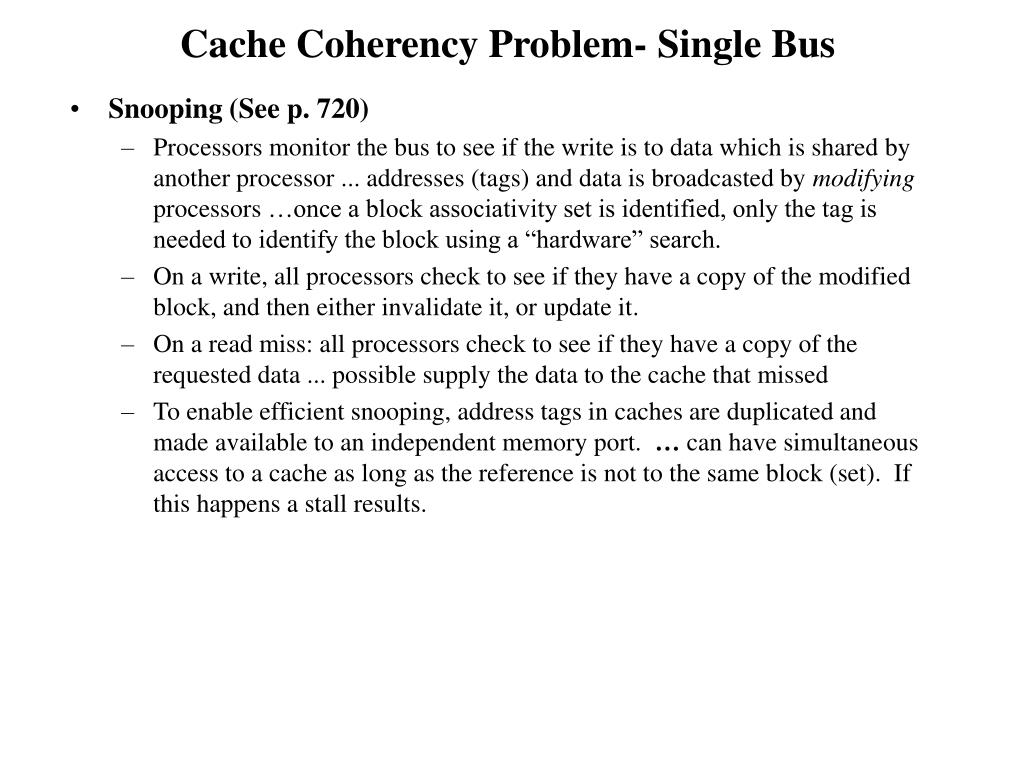 Cache Coherency Problem- Single Bus