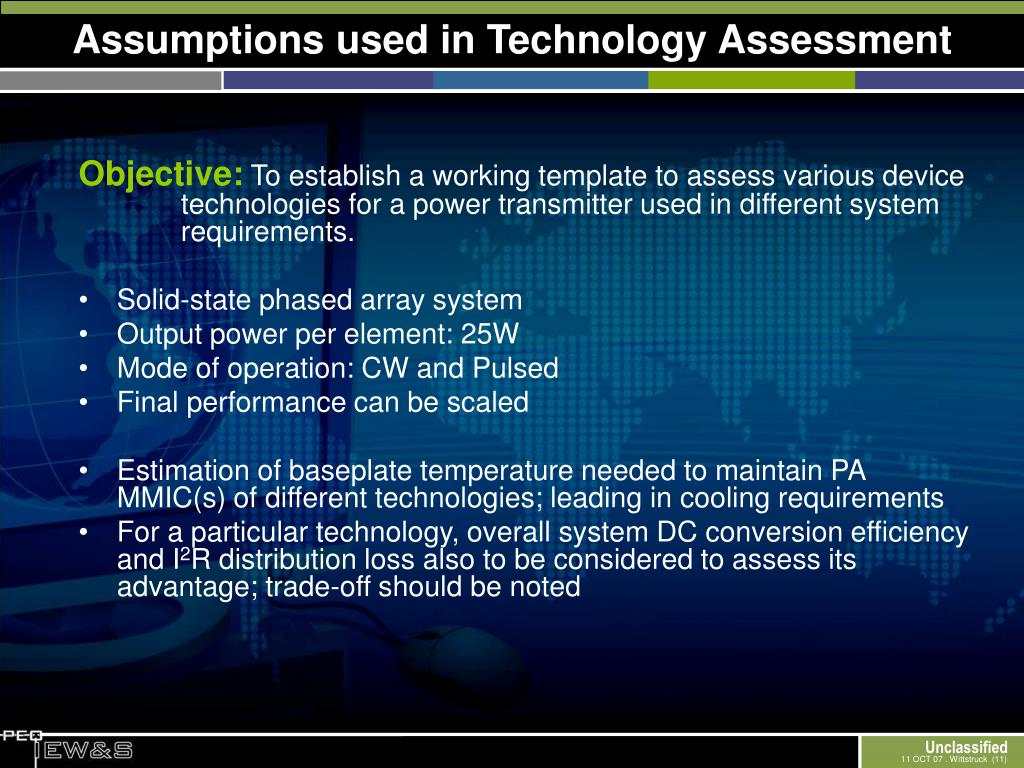 Assumptions used in Technology Assessment