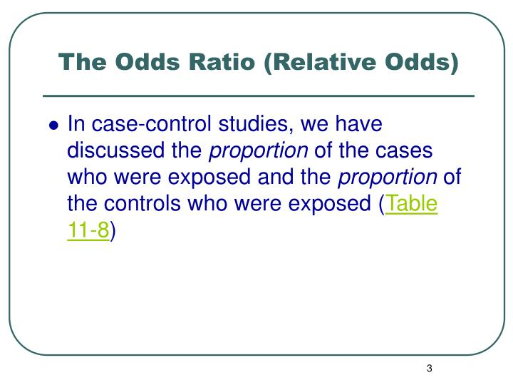 The odds ratio relative odds2