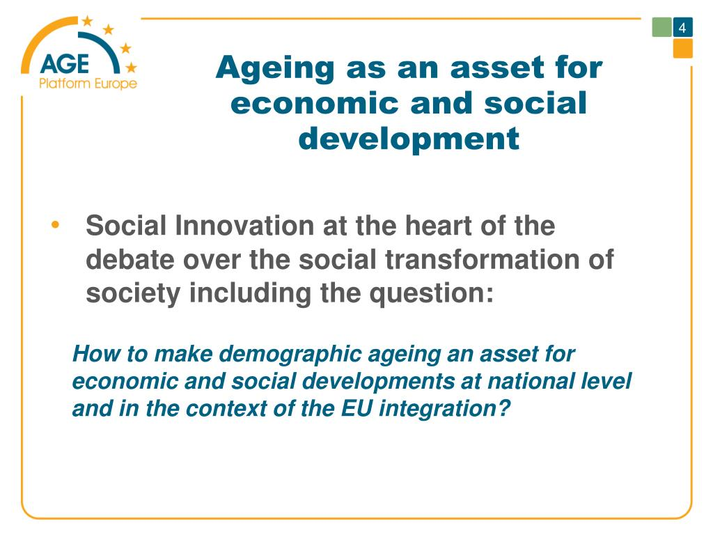 Ageing as an asset for economic and social development