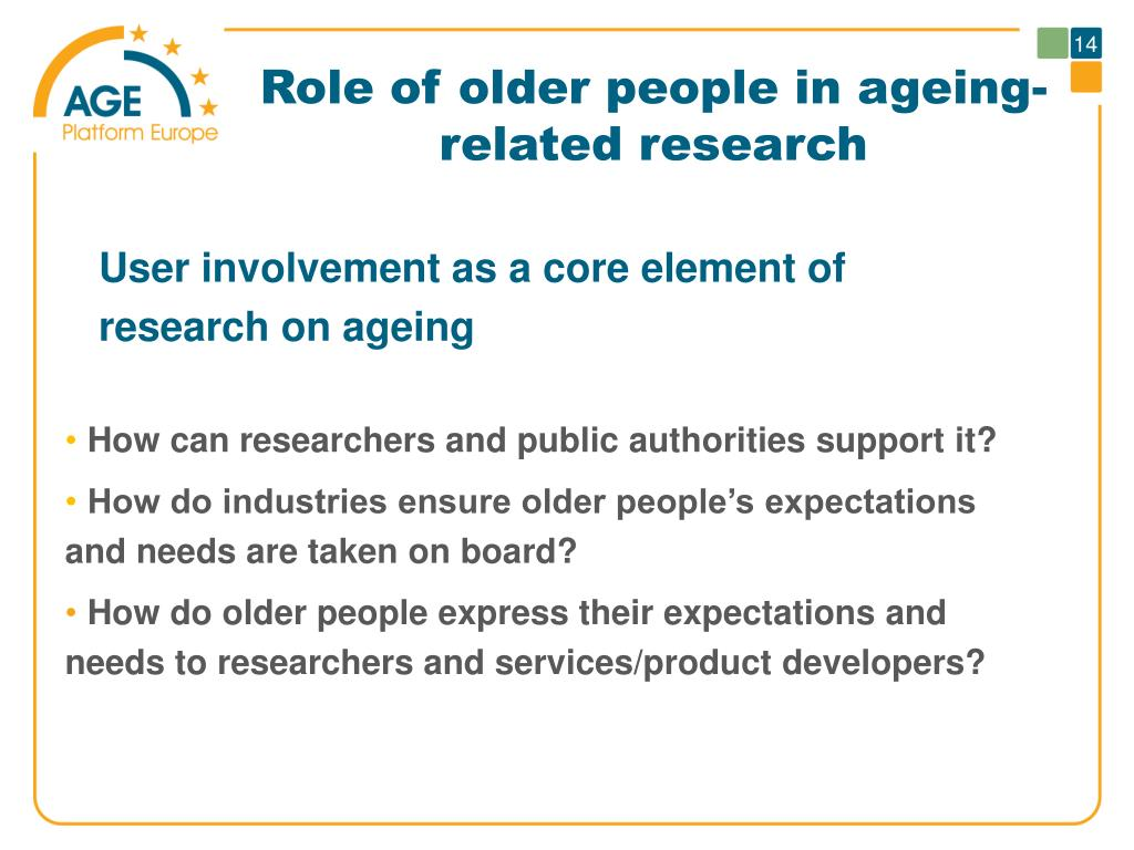 Role of older people in ageing-related research