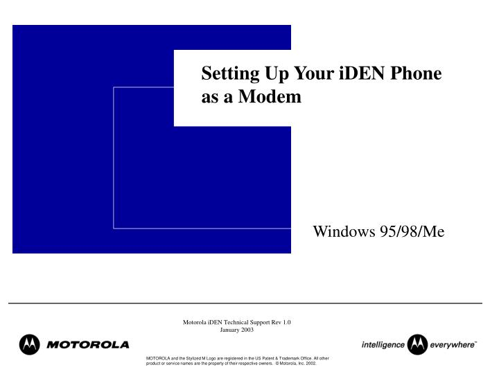 setting up your iden phone as a modem n.