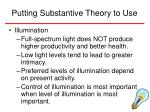 putting substantive theory to use19
