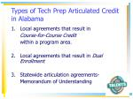 types of tech prep articulated credit in alabama