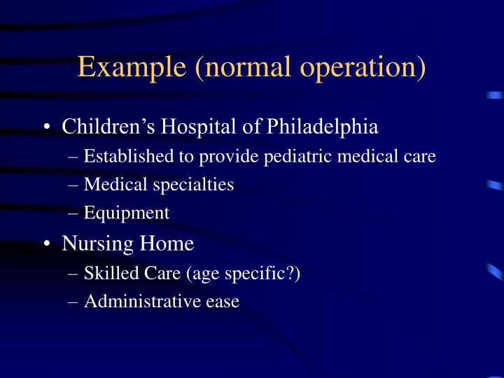 Example (normal operation)