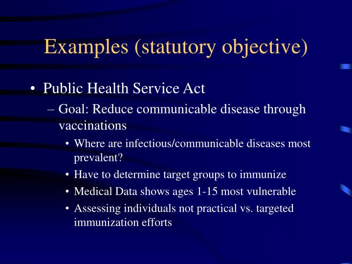 Examples (statutory objective)
