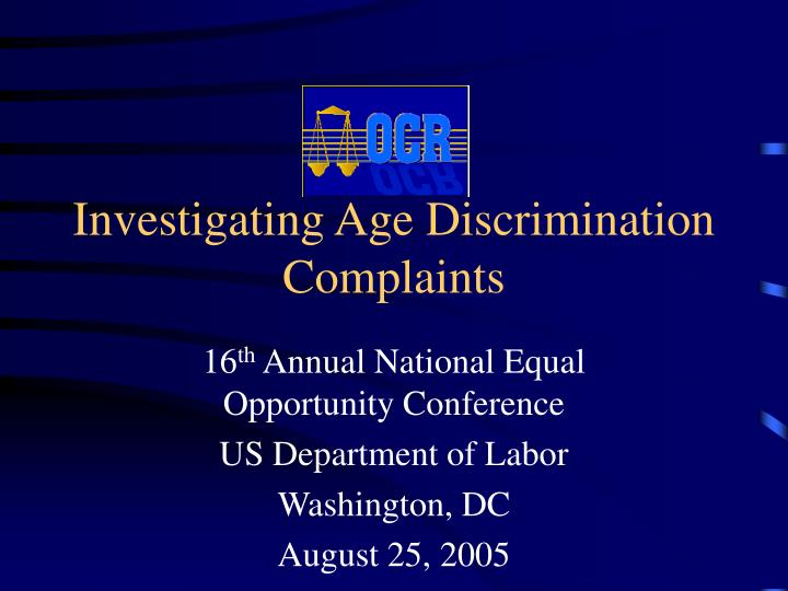 investigating age discrimination complaints n.