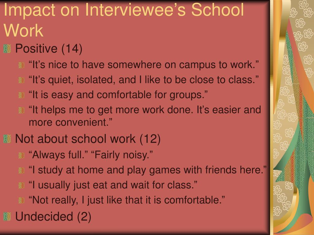 Impact on Interviewee's School Work