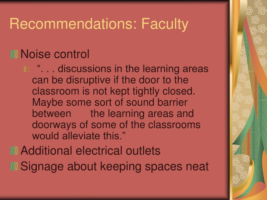 Recommendations: Faculty