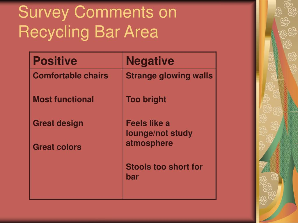Survey Comments on Recycling Bar Area