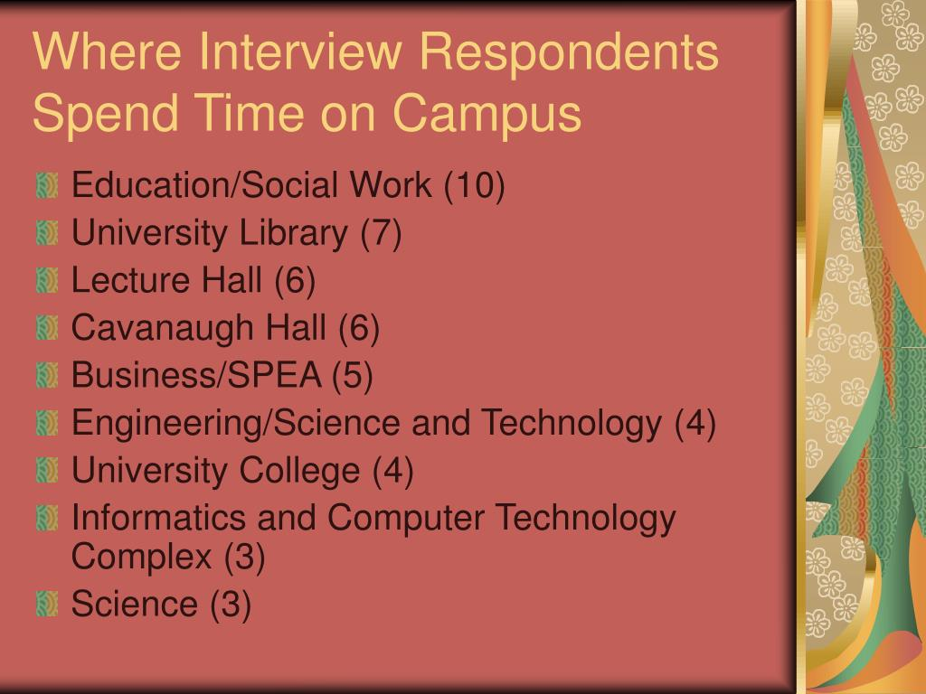 Where Interview Respondents Spend Time on Campus