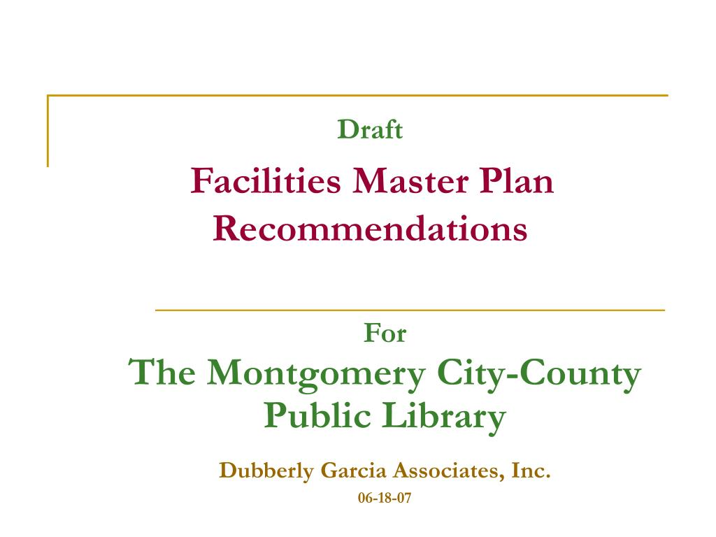 draft facilities master plan recommendations l.