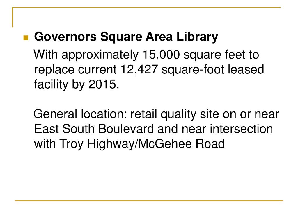 Governors Square Area Library
