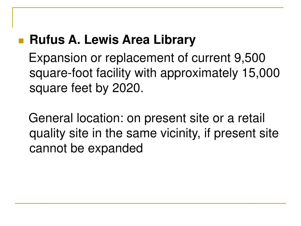 Rufus A. Lewis Area Library