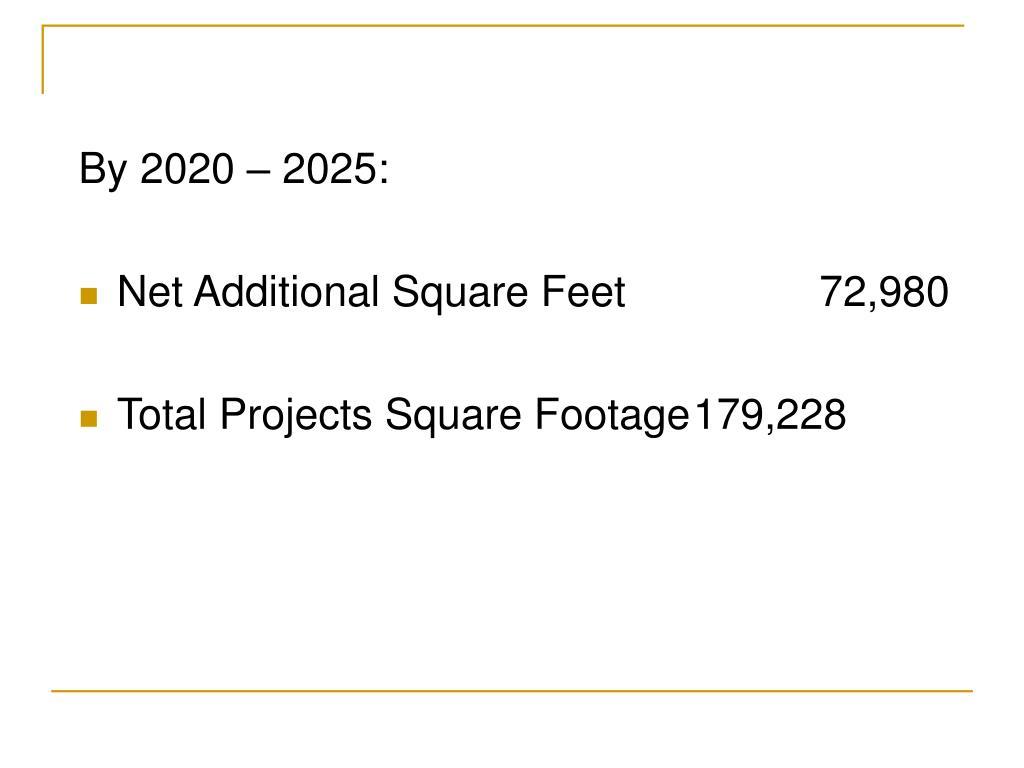 By 2020 – 2025: