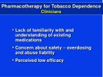 pharmacotherapy for tobacco dependence clinicians