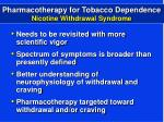 pharmacotherapy for tobacco dependence nicotine withdrawal syndrome