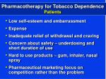 pharmacotherapy for tobacco dependence patients