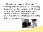 what is a learning contract