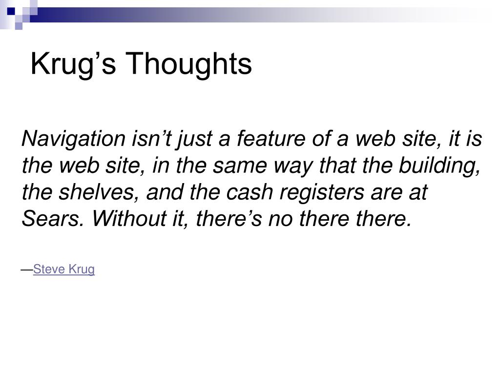 Krug's Thoughts