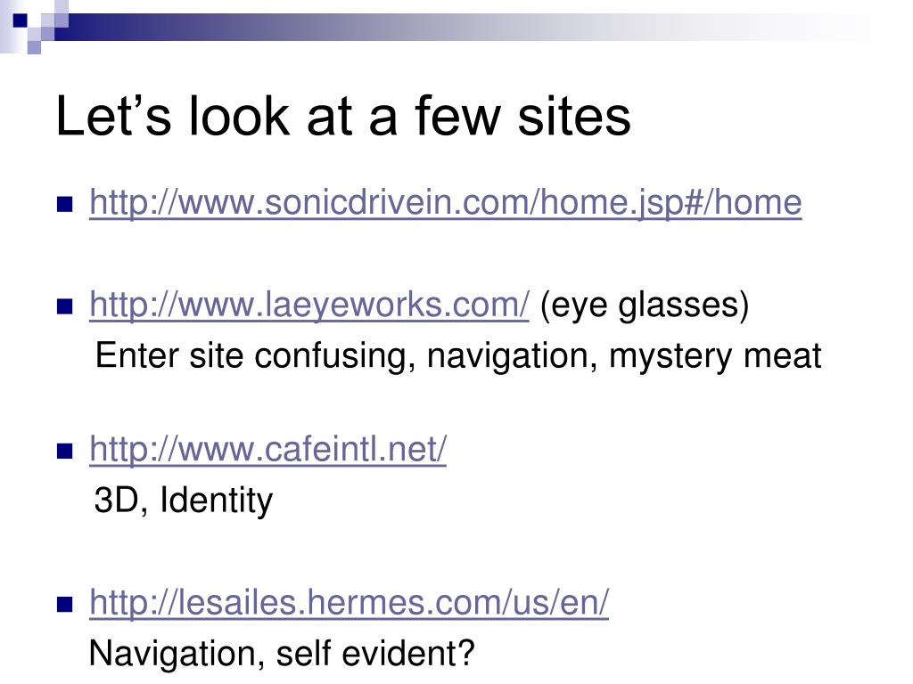 Let's look at a few sites