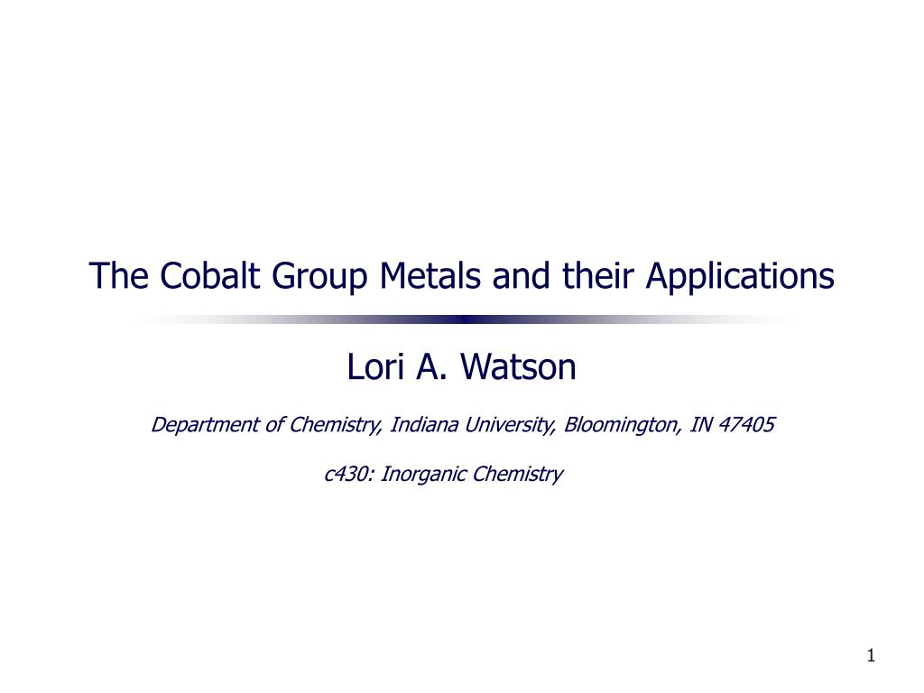 the cobalt group metals and their applications l.