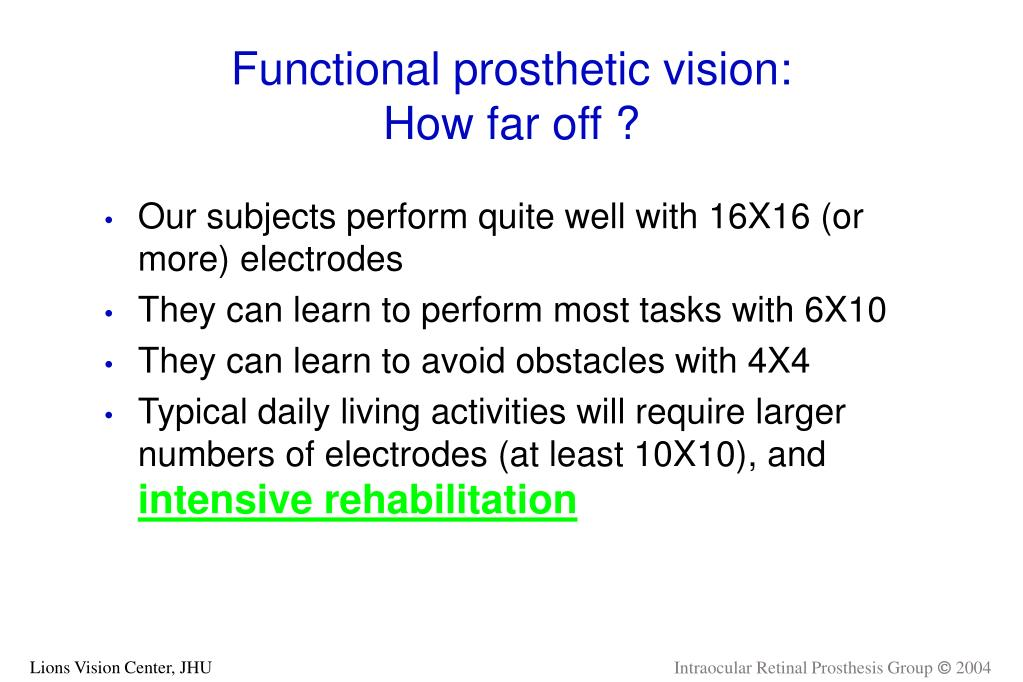 Functional prosthetic vision: