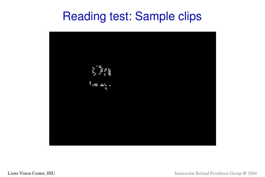 Reading test: Sample clips