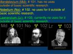 mendelevium md 101 has no uses outside of basic scientific research