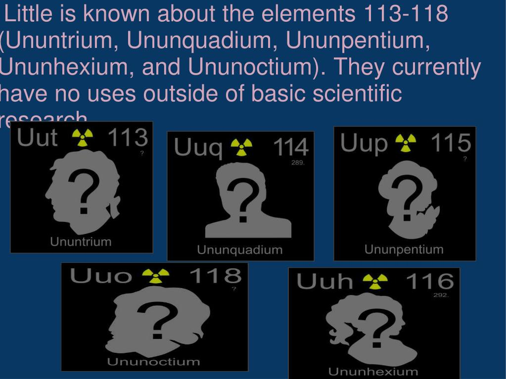 Little is known about the elements 113-118 (Ununtrium, Ununquadium, Ununpentium, Ununhexium, and Ununoctium). They currently have no uses outside of basic scientific research.