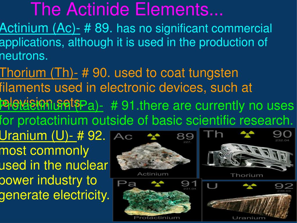 The Actinide Elements...