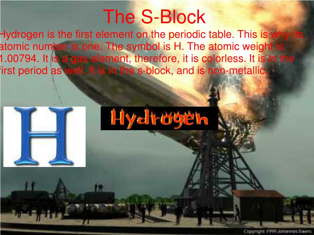 Hydrogen is the first element on the periodic table. This is why its atomic number is one. The symbol is H. The atomic weight is 1.00794. It is a gas element, therefore, it is colorless. It is in the first period as well. It is in the s-block, and is non-metallic.