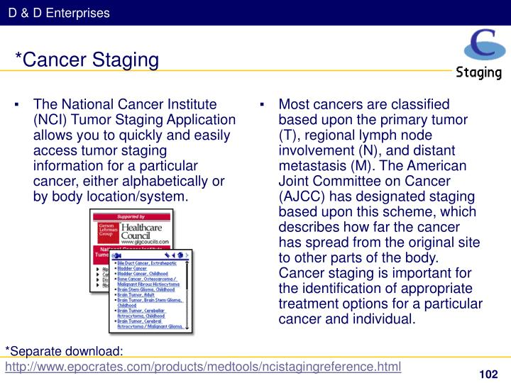 The National Cancer Institute (NCI) Tumor Staging Application allows you to quickly and easily access tumor staging information for a particular cancer, either alphabetically or by body location/system.