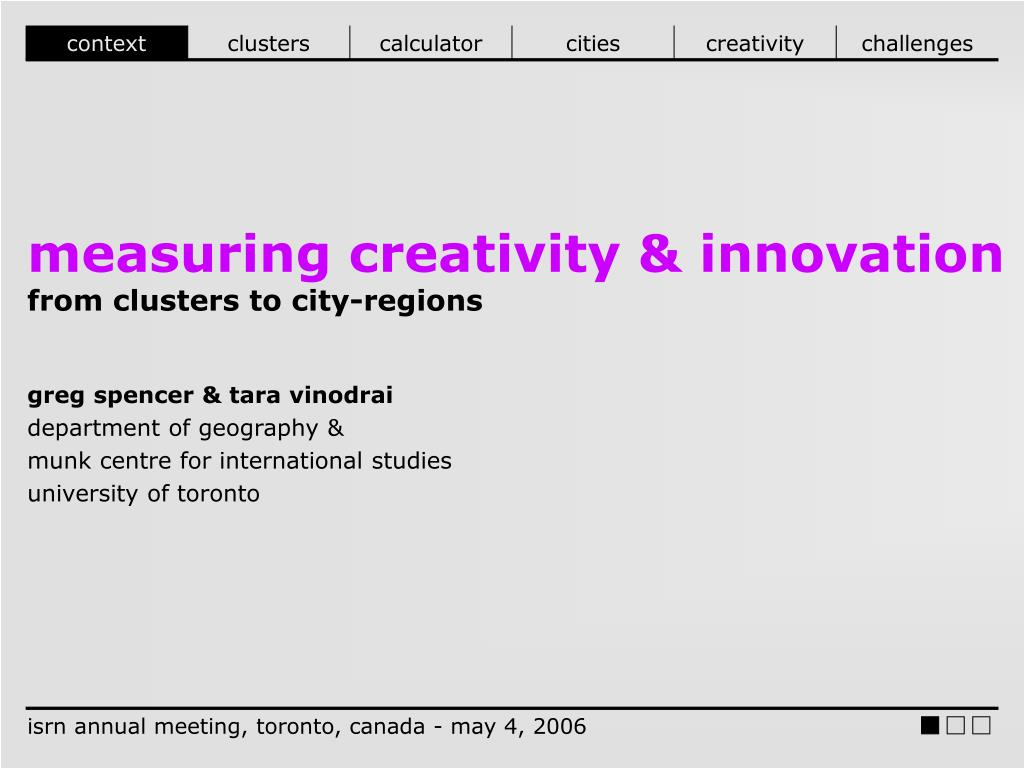ppt measuring creativity innovation from clusters to city