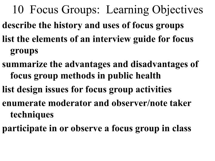 10 focus groups learning objectives n.