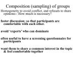composition sampling of groups