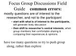 focus group discussions field guide common errors
