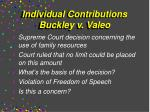 individual contributions buckley v valeo