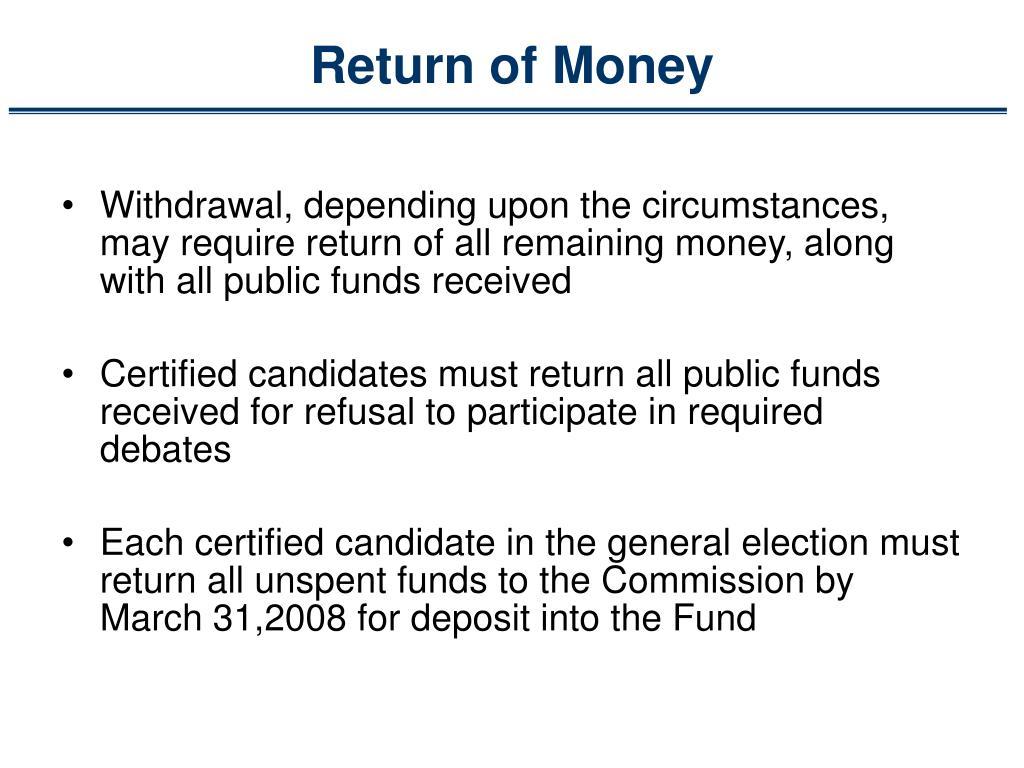 Return of Money