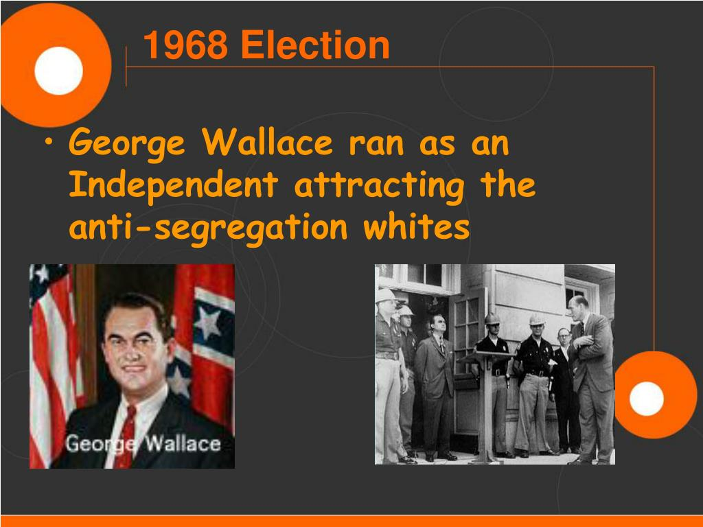 George Wallace ran as an Independent attracting the anti-segregation whites